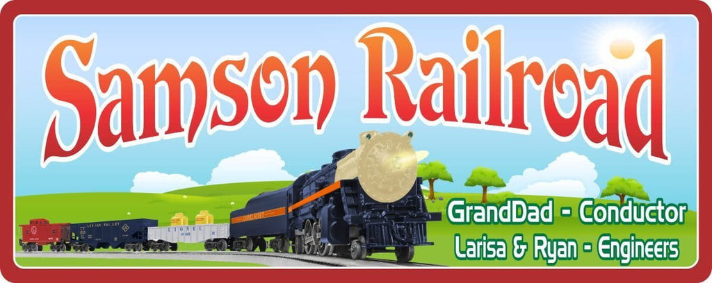 Lionel Train Personalized Sign with Green Hill & Blue Sky