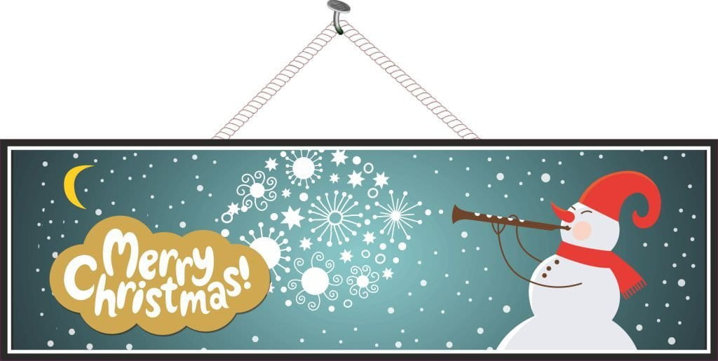 Elegant Merry Christmas Holiday Sign with Snowman & Floating Snowflakes
