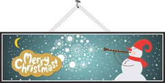 Elegant Snowman Christmas Sign in Blue & Gold