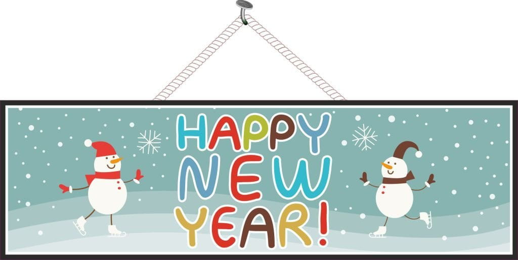 Happy New Year Sign with Snowflakes & Snowmen