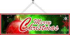 Traditional Merry Christmas Sign with Red Christmas Ornament