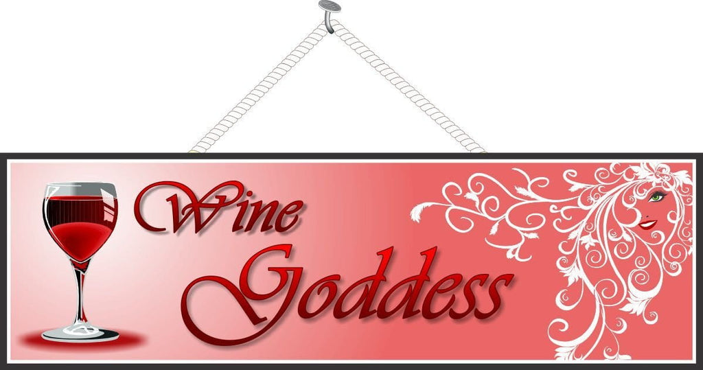 Wine Goddess Funny Sign with Red or White Wine Glass, White Flourishes and Woman's Face