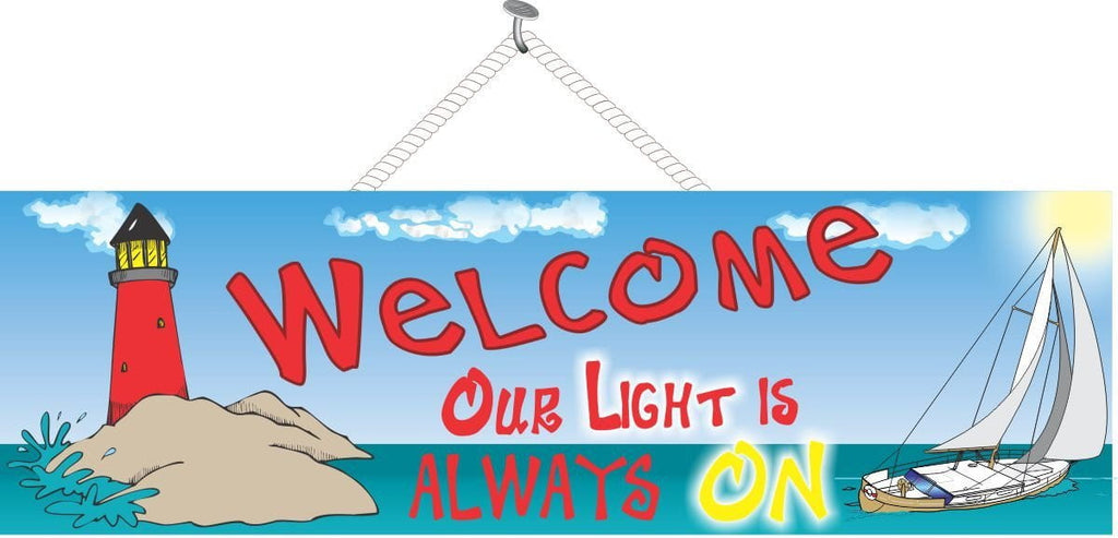 Lighthouse Welcome Sign with Sailboat