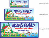 Personalized Cabin Sign, Custom Lake House Sign, Funny Family Resort and Day Camp, Name Sign