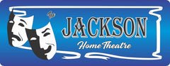 Blue Custom Home Theater Sign with Drama Masks & White Ribbon Border