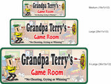 Classic Game Room Sign with Cartoon Man & Dart Board