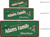 Custom Billiard Room Sign with Overhead View of Pool Table - 3 sizes