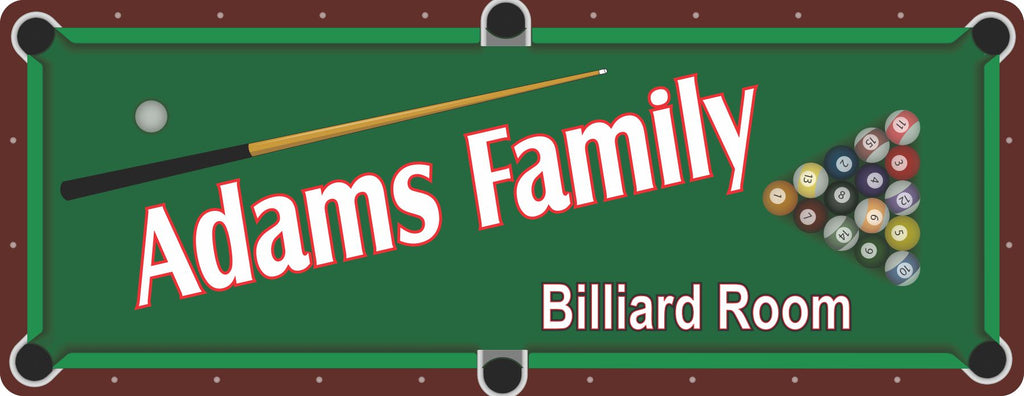 Custom Billiard Room Sign with Overhead View of Pool Table