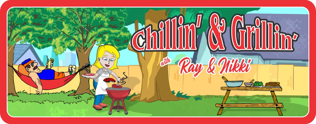 Chillin' & Grillin' Backyard BBQ Personalized Sign with Hammock