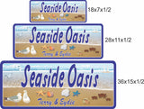 Seaside Oasis Custom Beach Sign with Crabs and Blue Ocean - 3 sizes