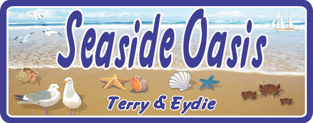Seaside Oasis Custom Beach Sign with Crabs and Blue Ocean