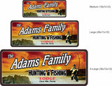 Personalized Hunting & Fishing Lodge Sign with Fisherman & Fiery Sunset - Cabin Decor