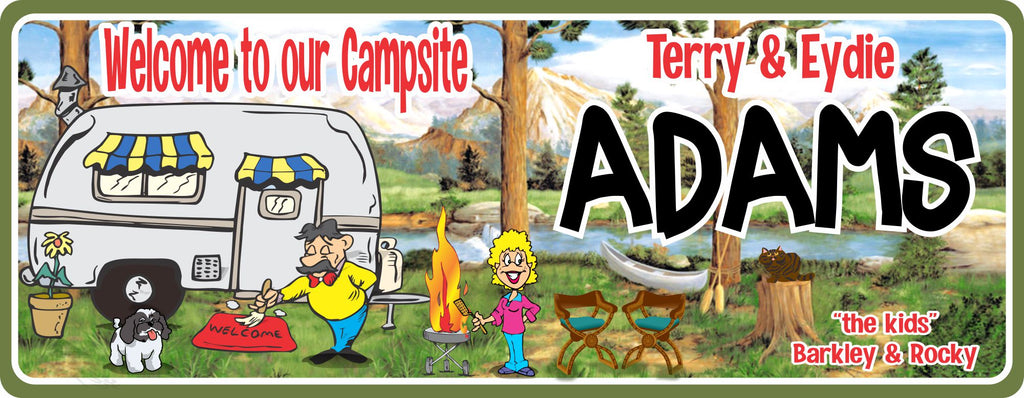 Personalized RV Camper Outdoor Sign with Stream, Forest & BBQ, RV Gift