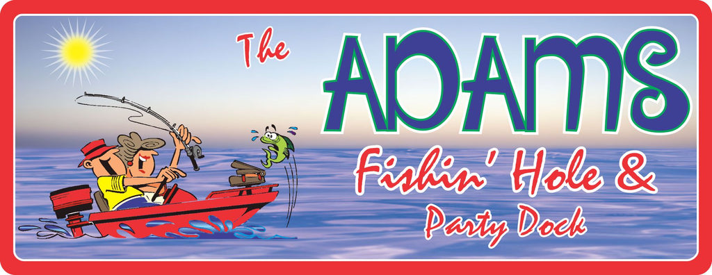 Fishin' Hole Personalized Dock Sign with Green Fish & Cartoon Couple in Red Motor Boat