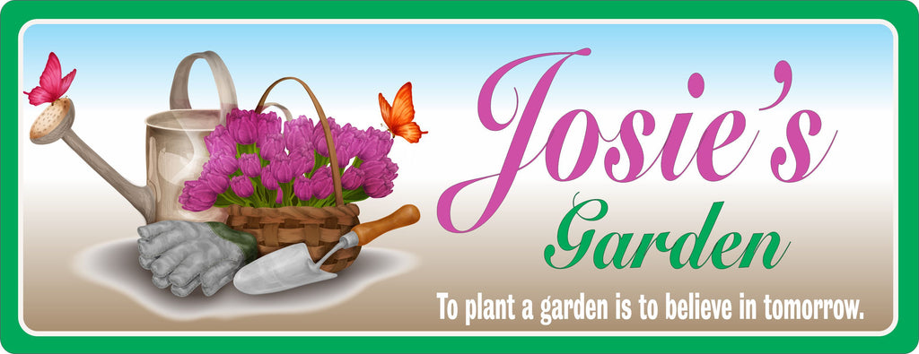Garden Sign with Watering Can, Gardening Tools & Flowers
