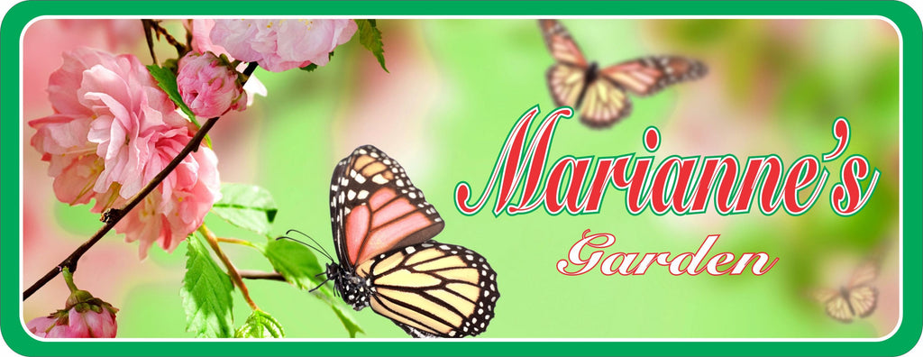 Custom Butterfly Garden Personalized Sign