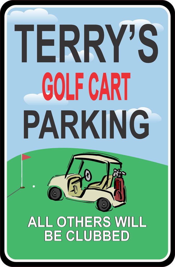 Golf Cart Personalized Parking Sign with Golf Green Background