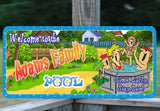 Cartoon Family Custom Pool Sign with Fun Font