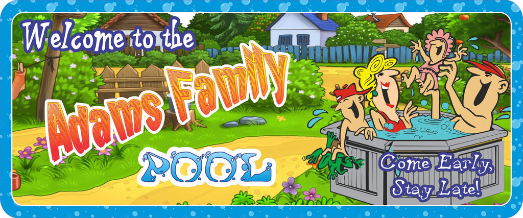 Personalized Outdoor Sign for Pool with Backyard Scene & Cartoon Family Having Fun