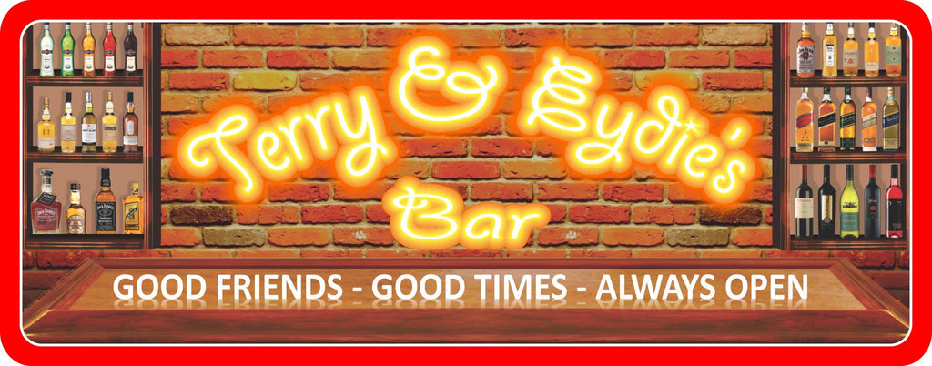 Red Brick Wall Custom Bar Sign with Liquor Bottles and Good Friends, Good Times, Always Open Text