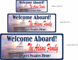 Personalized Peaceful Seas Custom Welcome Sign with Yacht - 3 Sizes