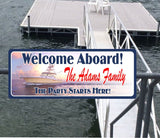 Personalized Peaceful Seas Custom Welcome Sign with Yacht