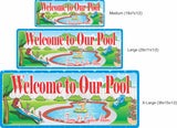 Cartoon Couple Custom Pool Welcome Sign - 3 sizes