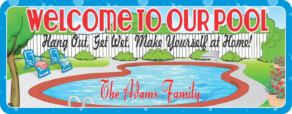 Swimming Pool Personalized Welcome Sign with Backyard Scene and Lawn Chairs