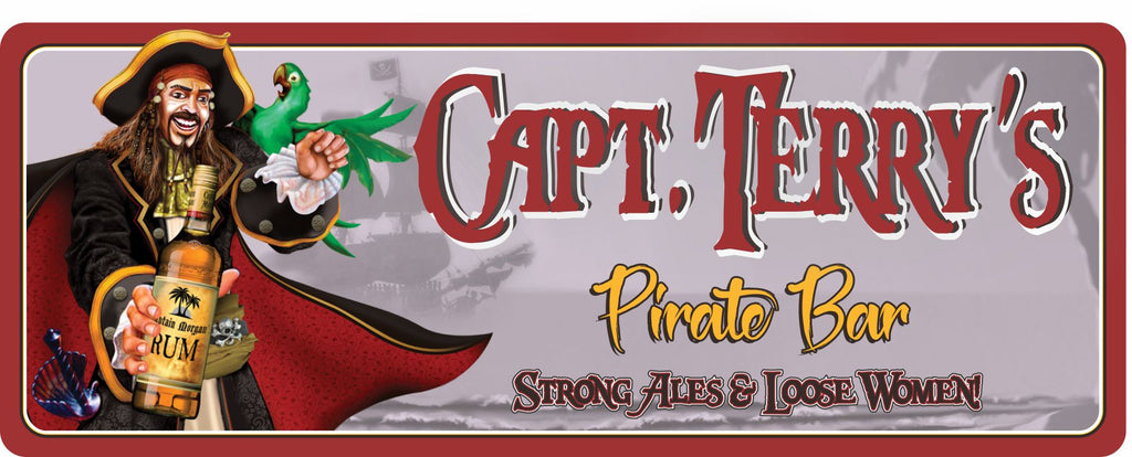 Captain Morgan with Green Parrot Personalized Bar Sign with Rum & Pirate Ship Silhouette