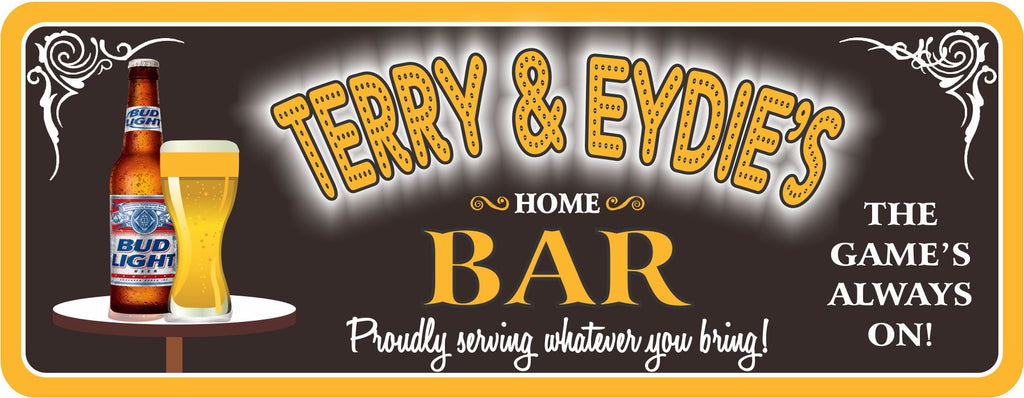 Personalized Home Bar Sign with Neon Lights Font