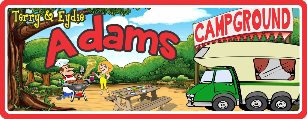 Personalized RV Camp Sign with BBQ & Picnic Table