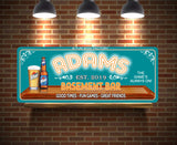 Neon Lights Effect Personalized Basement Bar Sign with Beer