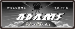 Black & White Home Theater Sign with Camera Silhouette
