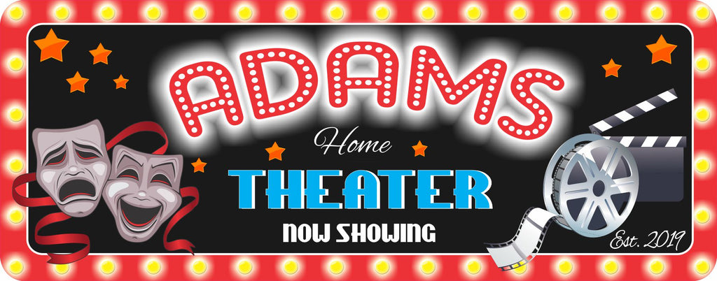 """Always Showing"" Personalized Home Theater Sign with Film Reel, Drama Masks and Clapboard"