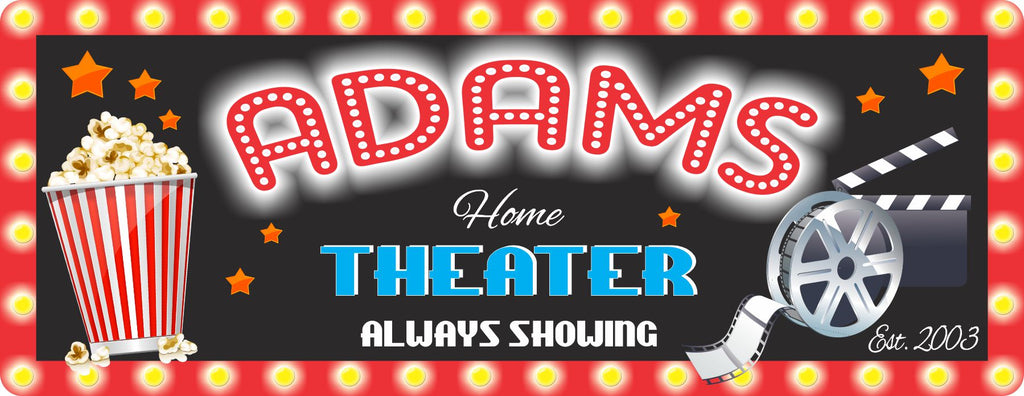 Film Reel and Popcorn Personalized Home Theater Sign with Family Established Date