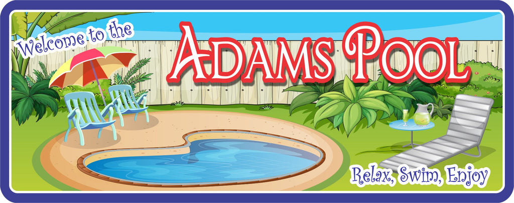 Swimming Pool Personalized Welcome Sign with Round Pool, Lawn Furniture & White Fence