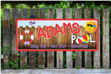 Personalized Sign for Pool with Wooden Fence & Cartoon Sun