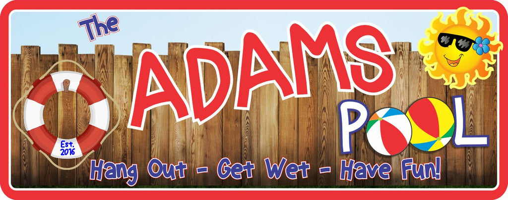 Personalized Wood Fence Pool Sign with Sun, Life Preserver & Beach Balls
