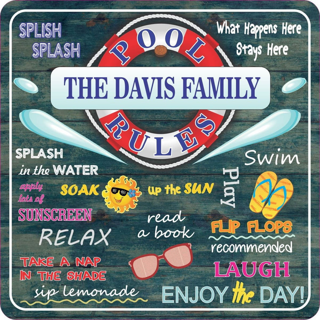 Personalized Swimming Pool Rules Sign with Distressed Wood Background & Summer Quotes