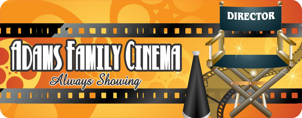 Golden Personalized Home Theater Sign with Director's Chair & Film Reels