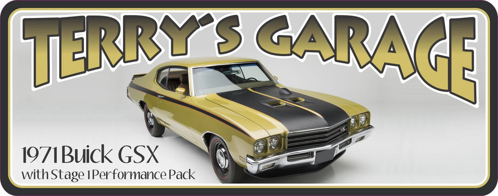 Yellow Buick GSX Vintage Car Sign with Personalized Name