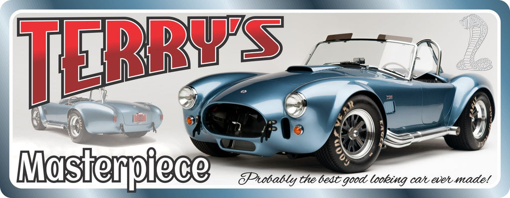 Anglo-American Blue Sports Car Sign with Custom Name