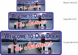 Tranquil Lake Personalized Welcome Sign with Dock & Mountains - 3 sizes