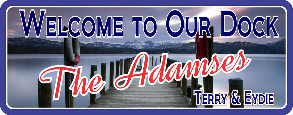 Tranquil Lake Personalized Welcome Sign with Dock & Mountains