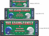 Personalized Sports Sign with Football Field & Opposing Team Helmets - 3 sizes