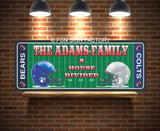 Personalized Sports Sign with Football Field & Opposing Team Helmets