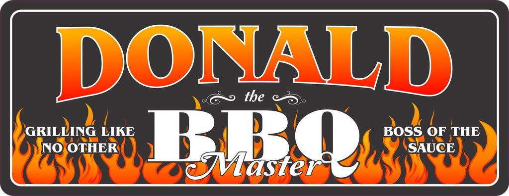 BBQ Master Personalized Outdoor Sign with Orange Tribal Flames