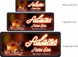 Personalized Home Bar Sign with Name & Mixed Drinks - 3 sizes