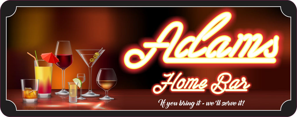 Personalized Home Bar Sign with Name & Mixed Drinks