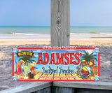Personalized Tiki Bar Backyard Sign with Parrot & Mixed Drinks